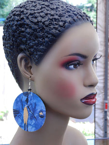 African Earrings Lady Earrings Fabric Jewelry Wooden Afrocentric Ethnic Blue Gold Ankara Handmade Black Owned Shop