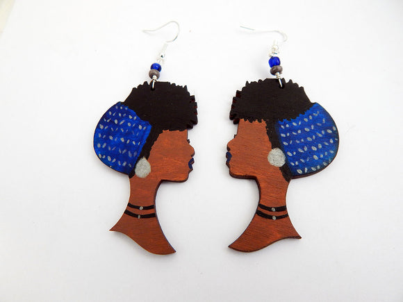 Wooden Earrings Blue Silver African American Jewelry Ethnic Handmade Wood