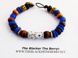 Blue Bracelet Men Jewelry Beaded Ethnic African Sankofa