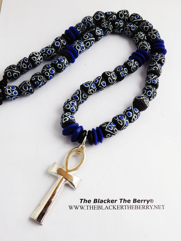Silver Ankh Necklace Blue Black Beaded Jewelry Men