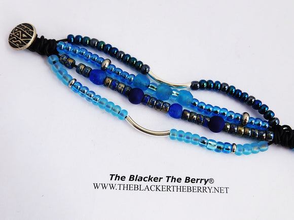 Blue Bracelet Beaded Jewelry Women Leather