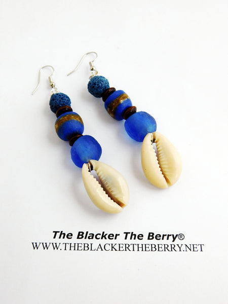 African Earrings Blue Beaded Jewelry Ethnic Cowrie Shell