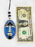 African Car Accessories Hanger Blue Car Charm Ethnic Afrocentric Kwanzaa Gift Ideas