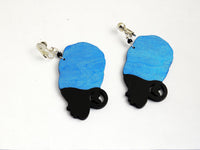 African Earrings Women Silhouette Jewelry Hand Painted Blue Black