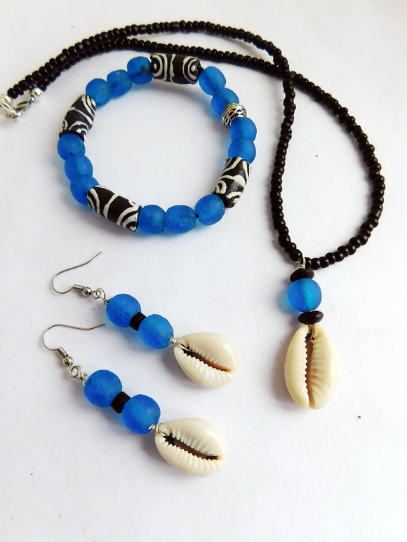 African Jewelry Set Cowrie Shell Blue Necklaces Bracelet Earrings