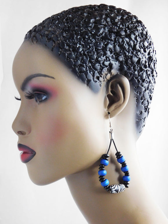 Leather Earrings African Beaded Blue Black Jewelry