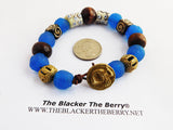 Sankofa Bracelet Blue Beaded Jewelry Leather Women Men