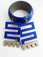 African Jewelry Blue Silver Bracelet Earrings Women Wooden