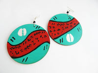 African Hand Painted Earring Wooden Blue Cowrie Turquoise Red Wood Jewelry