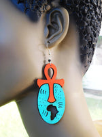 Ankh Africa Earrings African Jewelry Wooden Ethnic Afrocentric Handmade Blue Orange Wood