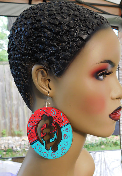 Large Gye Nyame Earrings Red Blue Wood Afrocentric Jewelry Adinkra Symbol