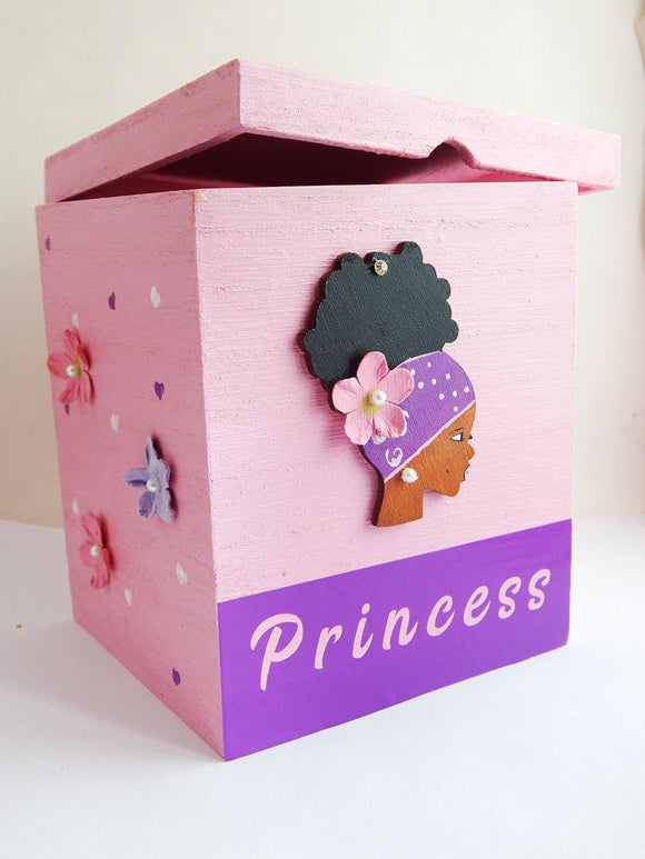 African Girl Princess Box Trinket Pink Purple Home Decor Gift for Girls Teens Afrocentric Black Pride