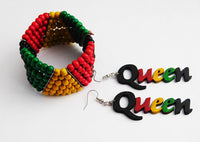Rasta Queen Earrings Bracelet Beaded Wooden Gift Ideas
