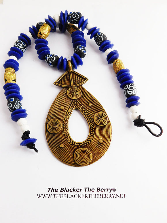 Large African Necklace Beaded Blue Ethnic Brass Photography Photo Shoot Unisex
