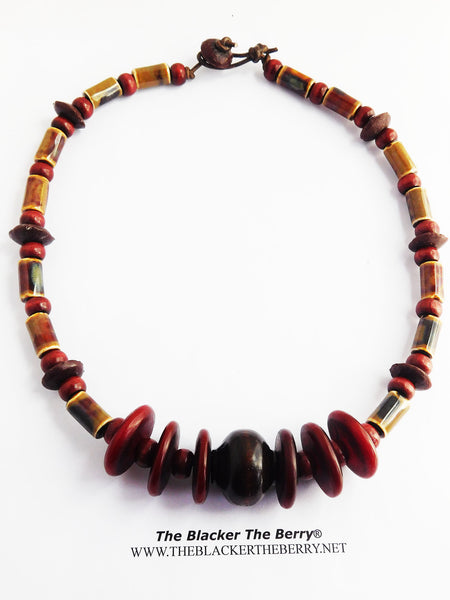 Burgundy Necklace Beaded Ethnic Jewelry Dark Red Copal