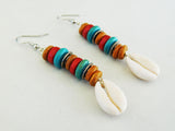 African Earrings Cowrie Shell  Beaded Red Turquoise Jewelry