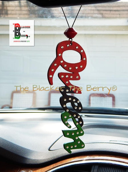 Bling Queen Car Charm Accessories Rear View Mirror RBG Pan African Afrocentric Large African