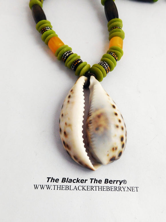 Cowrie Shell Necklace Beaded Ethnic Jewelry Green Yellow