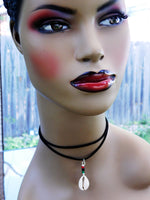 Choker Jewelry Cowrie Choker Beaded RBG African Cowrie Black Pan African Silver Ethnic Double Strand Adjustable Necklace