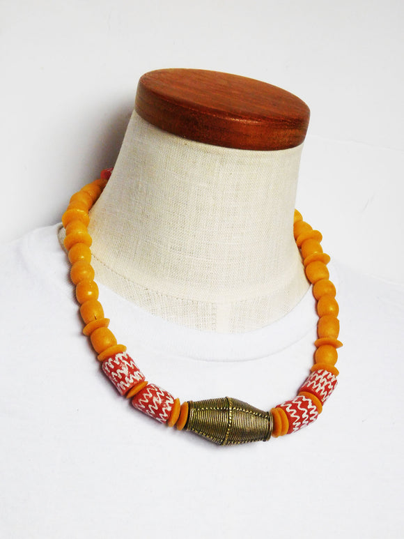 African Choker Necklace Men Women Beaded Jewelry Orange Yellow