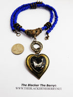 Heart Necklace Chunky Blue Beaded Long Jewelry