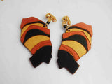 African Clip On Earrings Black Woman Art Non Pierced Gold Black Bronze Afrocentric