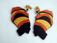 African Clip On Earrings Black Woman Art Non Pierced African Gold Black Bronze Afrocentric