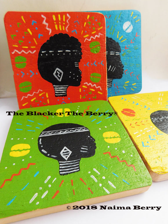 African Coasters Wooden Hand Painted