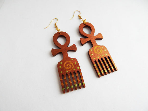 Ankh Earrings African Adinkra Duafe Jewelry Wooden Hand Painted