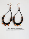 Copper Earrings Leather Beaded Ethnic Jewelry