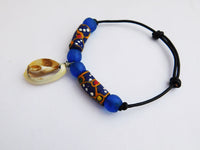 Cowrie Shell Bracelet African Beads Ethnic Jewelry Blue