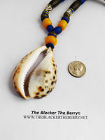 Large Cowrie Necklaces Blue Yellow Beaded Ethnic Jewelry