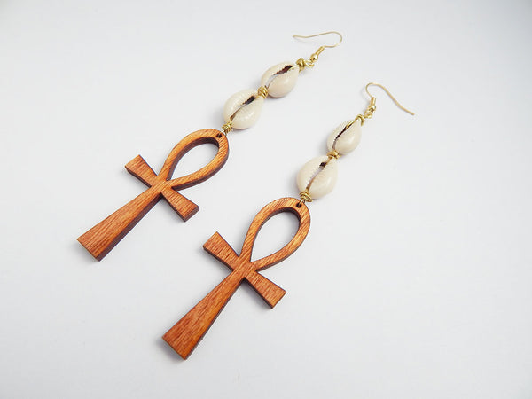 Ankh Earrings Cowrie Shell Jewelry Long African Wooden Ethnic Afrocentric Egyptian