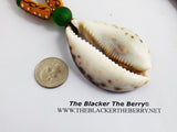 Large Cowrie Necklaces Green Yellow Beaded Unisex Handmade African