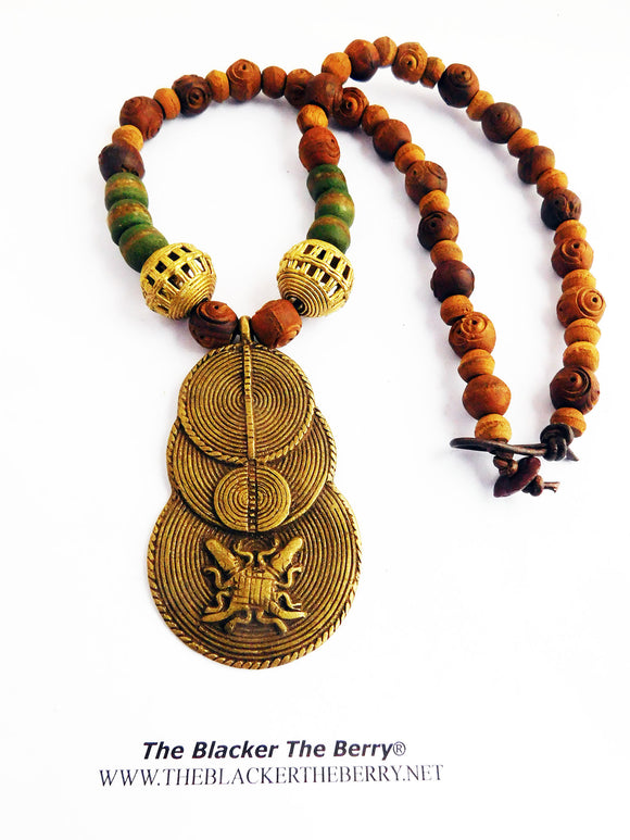 Men Necklaces African Adinkra Symbolic Jewelry Beaded Crocodiles Ghana