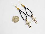 Cross Earrings Leather Jewelry Gold Tone