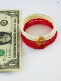 Elephant Bracelet Red Cream Beaded Jewelry Ethnic Handmade
