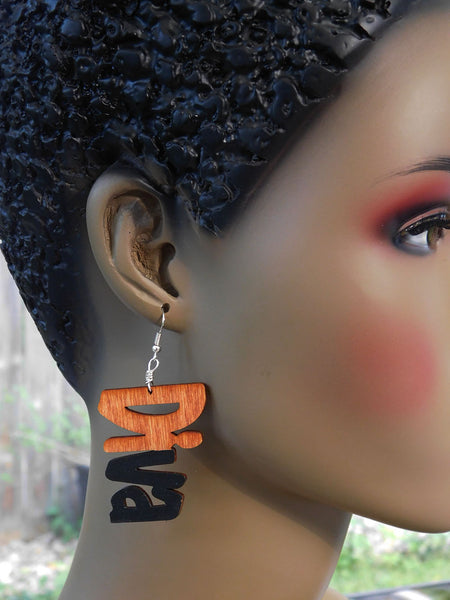 Diva Earrings Wooden Hand Painted Black Ethnic Jewelry Gift Ideas for Her