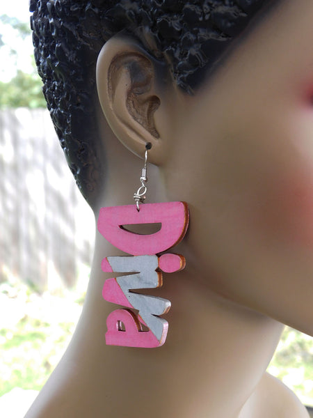 Diva Earrings Ethnic Wooden Pink Silver Gift Ideas for Her Women Jewelry