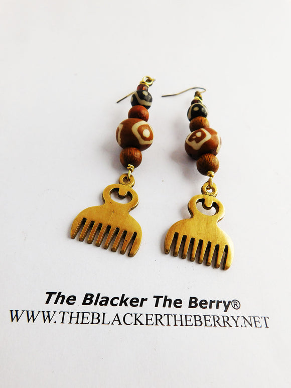 African Duafe Earrings Adinkra Beaded Ethnic Jewelry