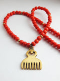 Duafe Comb Necklace African Adinkra Jewelry Brass Red for Women