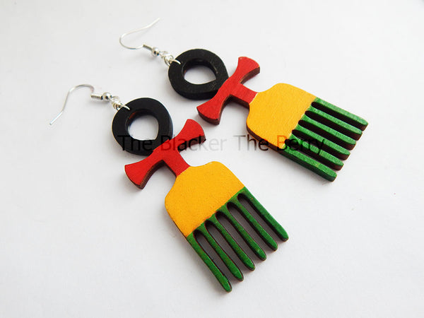 Ankh Earrings Duafe African Adinkra Wooden Hand Painted Jewelry