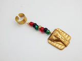 Egyptian Hair Jewelry RBG Pan African Hair Accessories Beaded Gold African Afrocentric Ethnic