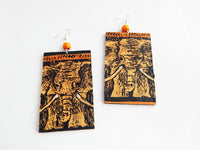 African Earrings Elephant Ethnic Jewelry Fabric Wooden Women