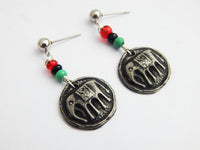Elephant Earrings Post Dangle RBG Pan African Small Pewter
