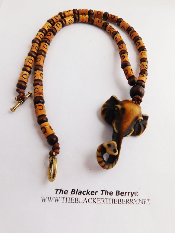 Elephant Necklaces Men Jewelry Wood Beaded Long