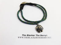 Elephant Jewelry Beaded Green Silver Stainless Steel