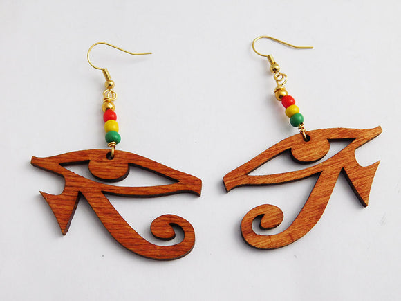 Egyptian Eye Earrings Wooden Rasta Beaded