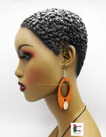 Wooden Earrings Oval Cowrie Jewelry  The Blacker The Berry