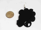 Afro Earrings African Wooden Jewelry Black Woman Afrocentric Handmade Ethnic Wood